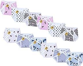 FARETO Baby Cotton Cloth Diapers, 0-9Months (Multicolour) - Set of 12
