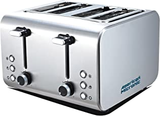 American Micronic AMI-TSS2-150Dx 4-Slice 2in1 Imported Steel Pop-up Toaster (Steel)