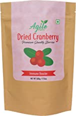 Agile Organic Unsweetened Whole Dried Cranberries 500g (Premium Quality)