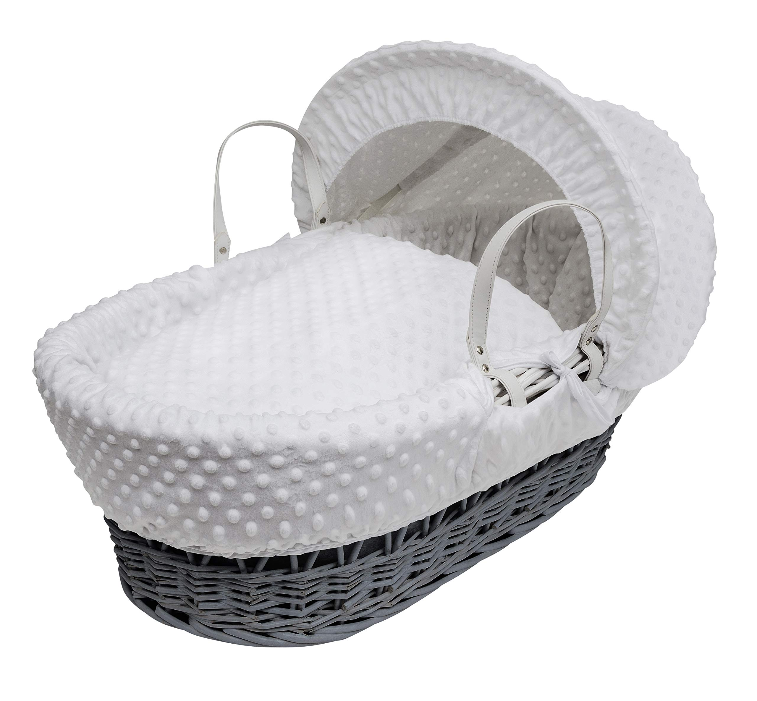 White Dimple on Grey Wicker Padded Moses Basket & Deluxe White Rocking Stand. Elegant Baby Suitable from newborn for up to 9kg, this Moses Basket uses Easy-care Poly Cotton with a soft padding surround Suitable from newborn to 9 months It also includes a comfortable mattress and an adjustable hood perfect to create a cosy sleeping space for your precious little one 2