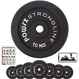 POWRX Dischi Pesi ghisa 2,5-20 kg - Ideali per manubri e bilancieri con Braccio da 30 mm + PDF Workout