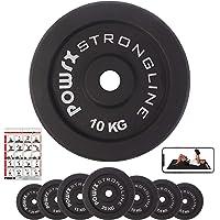 POWRX Dischi Pesi ghisa 2,5-20 kg - Ideali per manubri e bilancieri con Diametro Ø 30 mm + PDF Workout