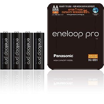 """Panasonic Eneloop BK-3HCDE/4LE SLIDING PACK- Batterie ricaricabili Ni-MH""""Ready-to-Use"""", AA Mignon, confezione da 4, colore: Nero"""