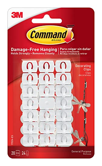 Command Decoration Clips for Christmas and Fairy Light - White ...