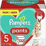 Pampers Couches-Culottes Baby-Dry Pants Taille 5 (12-17kg) Maintien 360° pour Éviter les Fuites, Faciles à Changer, 132 Couch