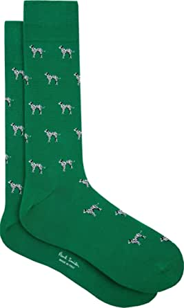 """PAUL SMITH """"Dalmation"""" Mens Cotton One Size Socks Green with Black & White Dalmation Dogs"""
