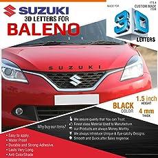 CarMetics Suzuki 3D Acrylic Letters for Maruti Suzuki Baleno Black