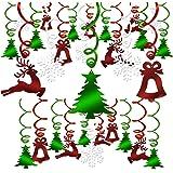 HOWAF 30 Pezzi di Natale Decorazione da Appendere, Albero di Natale Campana Renna Fiocco di Neve turbinii Decorazioni a Spira