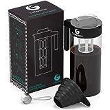 Coffee Gator Kaffeebereiter für Cold Brew Kaltwasser-Kaffeezubereiter bekömmlichen Kaffee-Kaltauszug herstellen   Ideal für Eiskaffee   Im Set mit Messlöffel und Klapptrichter (Black)