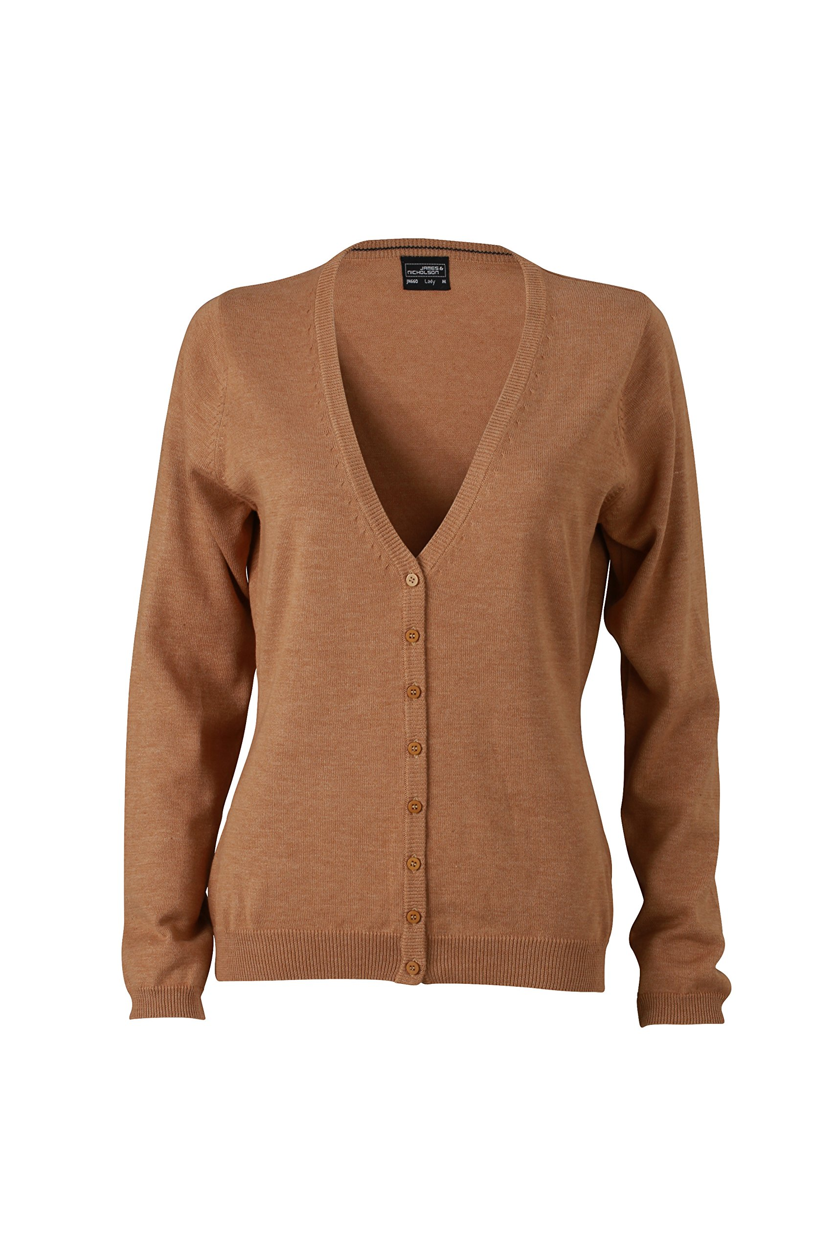 James & Nicholson Damen V-Neck Cardigan Strickjacke