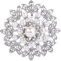 EVER FAITH Spilla Gioiello, Cristallo Crema Perla simulata Elegante Fiore Bud Foglia Spilla Trasparente Argento-Fondo