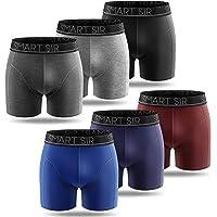 Smart Sir Boxer Uomo (Pacco da 6) Mutande in Cotone Elasticizzato Fitted Slip S, M, L,XL, XXL, XXXL