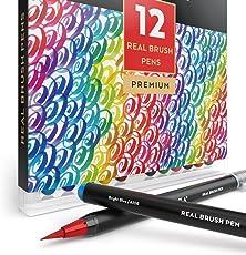 Pennarelli Acquerello Professionali Da Disegno Brush Pen, Punta Flessibile Morbida A Pennello, Set Da 12 Pennarelli Ad Acqua