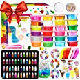 DIY Slime Kit - 24 Colores Kit de Slime Esponjoso con 48 brillantinas, Suministros de Slime Claro para niños, Incluye Arcilla