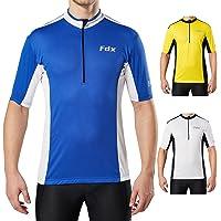 FDX Mens Short Sleeves Cycling Jersey, Half Zip Mountain Bike MTB Cycle Shirt Breathable Quick Dry Fabric/Summer Biking…