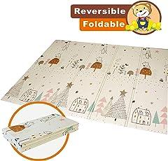 Baby Play Mat pieghevole Baby Care XPE Playmat Foam Floor slip extra large Foam reversibile impermeabile portatile doppio lati bambini del bambino per uso esterno o interno non tossico, colorato(195×148×1cm)