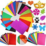 HOWAF 20 Feuille Auto-Adhésif Stickers Paillette Papier Mousse Autocollante pour Artisanat, Coloré Feuilles Adhésives Papier