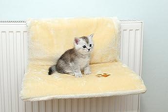 Katzen Plüsch Liegemulde Hängeliege Heizkörperliege Katzenbett Katzensofa Katzenhängematte für jeden Heizkörper geeignet stabile Ausführung 10 kg Tragkraft waschbar 30 Grad Größe 46 x 32 cm