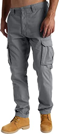West Ace Mens Cargo Combat Work Trousers Casual Pants with Knee Pad Pockets Workwear 100% Cotton Trousers