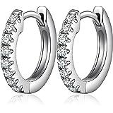 Jiahanzb 18K Oro Placcata Simulato Diamante Brillanti Orecchini a Cerchio 925 Argento Sterlina 5A Zirconi Orecchini per Donna