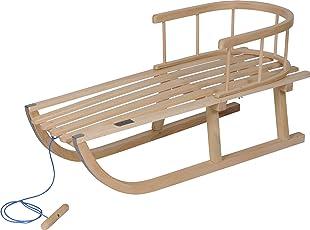Schlitten Kinderschlitten Holzschlitten mit Zugseil Lehne Metall 88cm Holz Kind