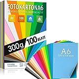 100 feuilles de carton photo DIN A6-300g / m² d'épaisseur - 20 couleurs - carton, feuilles colorées pour l'école, passe-temps