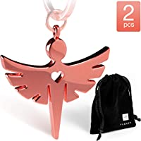 Schutzengel Schlüsselanhänger mit Herz - Edler Engel Anhänger aus Metall in silber, schwarz und roségold - Glücksbringer Geschenk für Auto, Führerschein – FABACH®