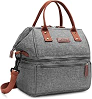 Lokass Lunch Bags for Women Wide Open Insulated Lunch Box With Double Deck Large Capacity Cooler Tote Bag With Removable Shou