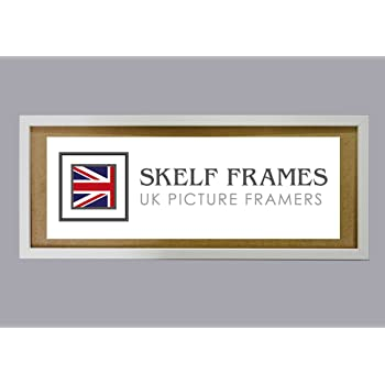 10x4 Skelf Frames 30mm Brushed Silver Picture Photo Poster Frame with Glass