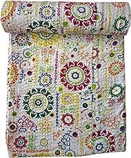 Kirti Textiles and Handicraft Rajasthani Kantha Quilt Suzani Print Cotton Kantha Bed Cover Kantha Throw Bedspread