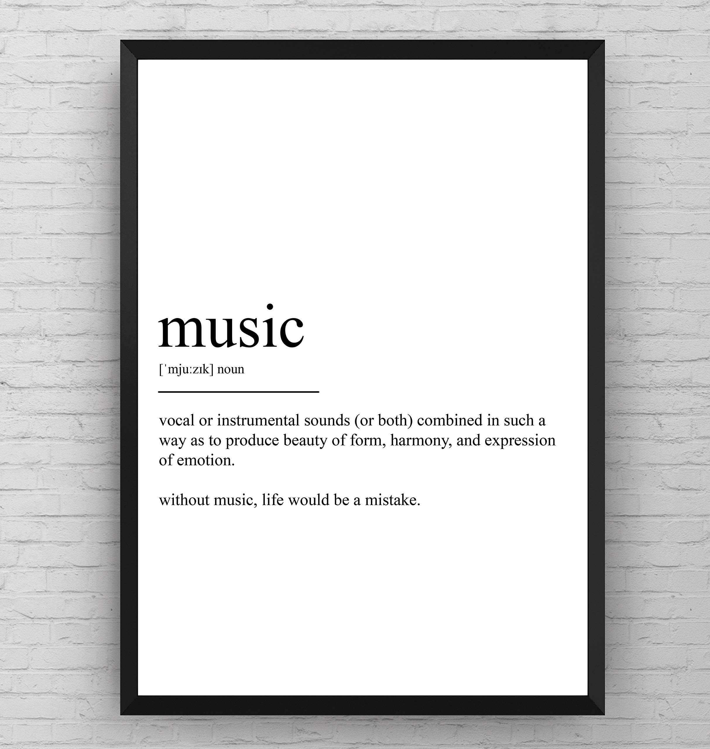 Music Definition Print Lover Poster Best Gift Presents Teacher Wall Art Student Typography Quote Home Room Decor – Frame Not Included