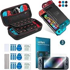 Keten Kit accessori 11 in 1 per Nintendo Switch, include Custodia da trasporto per Nintendo Switch / Custodia Cover Protettiva Nero / Pellicola Protettiva HD