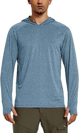 Safort Men's UPF 50+ Sun Protection Hoodie Long Sleeve Half Zip T-Shirt for Running, Fishing, Hiking, Heather Blue, XXL