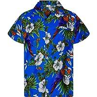 King Kameha Chemise Hawaïenne Homme Funky Casual Button Down Very Loud Poche Avant Courtes Unisex Perroquet Cerisier…