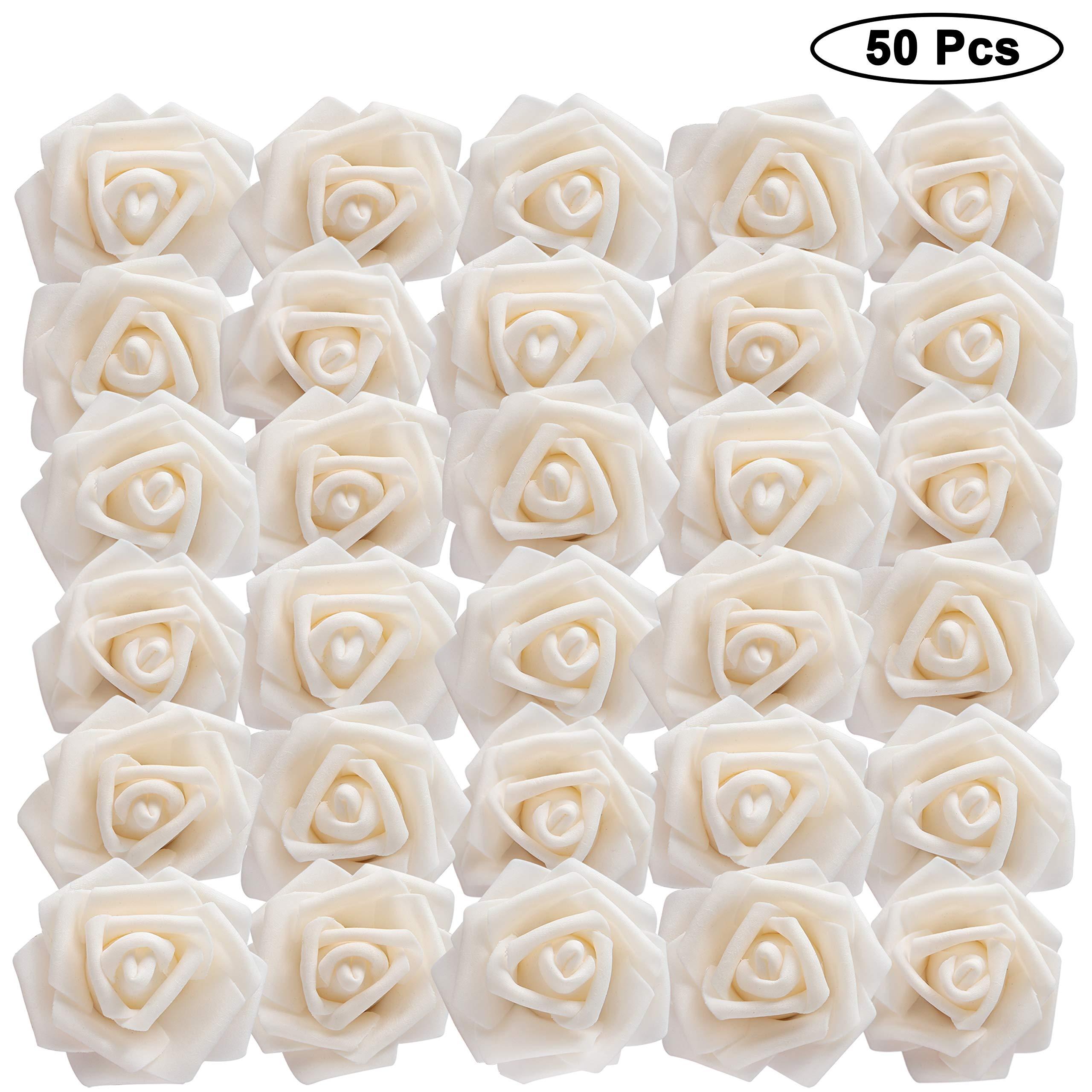 BELLE VOUS Flores Artificial (50 Pcs) – Espuma Rosas Artificiales de Aspecto Real con Vástago Ajustable Bricolaje Ramos Boda, Decoración para el Jardín Hogar, Nupciales, Centros de Mesa (Crema)