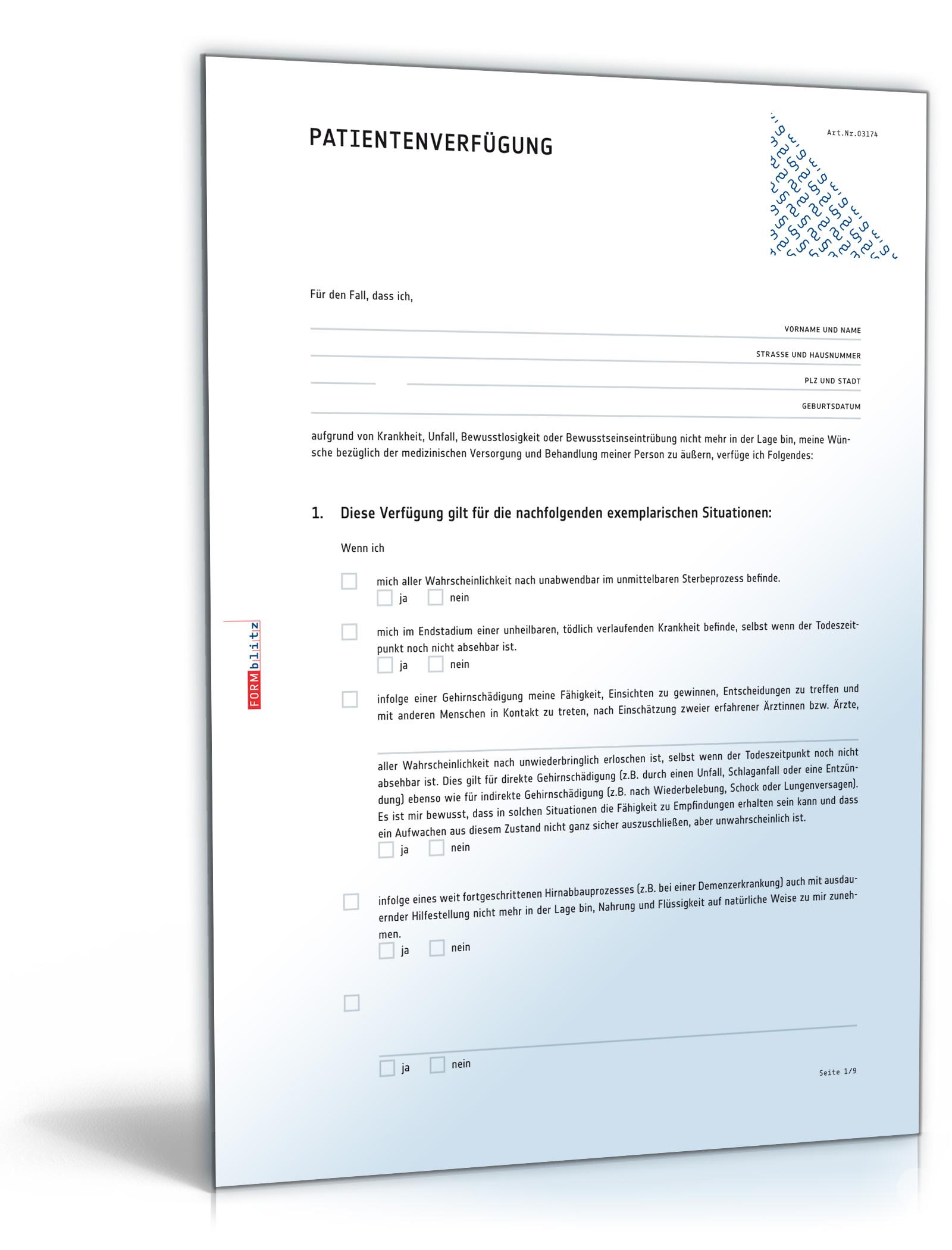 Patientenverfügung (DOC) - Patientenwillen rechtsverbindlich festlegen [Download] (Medizinische Vollmacht)