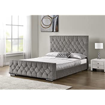 Lieblich Unmatchable Diamond Upholstered Fabric Bed Frame Chenille Velvet Double King  Size (Silver Chenille, Double 4FT6)