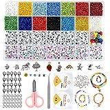 Glasperlen Buchstaben Perlen set, 3MM Perlen zum Auffädeln Bunte Buchstaben Smiley Mini Perlen Fädelperlen DIY mit Gummiband