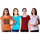 NIVIK Combo of 4 Multi-Color, Printed, Cotton T-Shirts for Women