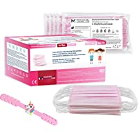 50 Mascherine Chirurgiche Colorate Rosa per Bambina Certificate CE Tipo IIR con BFE≥98, Mascherina Chirurgica…