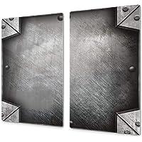 Tagliere da cucina in vetro e Copri piano cottura a induzione  ndash  pezzo UNICO  60x52 cm  o DUE pezzi  30x52 cm ognuno   D10A Serie Textures B  Acciaio 3