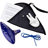 Czemo Zelda Ocarina 12 Trous Céramique Alto C Instrument de Musique + Support Fond Blanc + Corde + Pochette + Livre d…