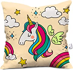 gemshop Multi- Peace Unicorn In The Air Thinking About Love Micro Cotton Printed Cushion Cover With Filler- 12 X 12