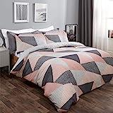 Dreamscene Textured Geometric Scandi Duvet Cover with Pillowcase Bedding Set for Girls Boys Women Adults, Blush Pink…