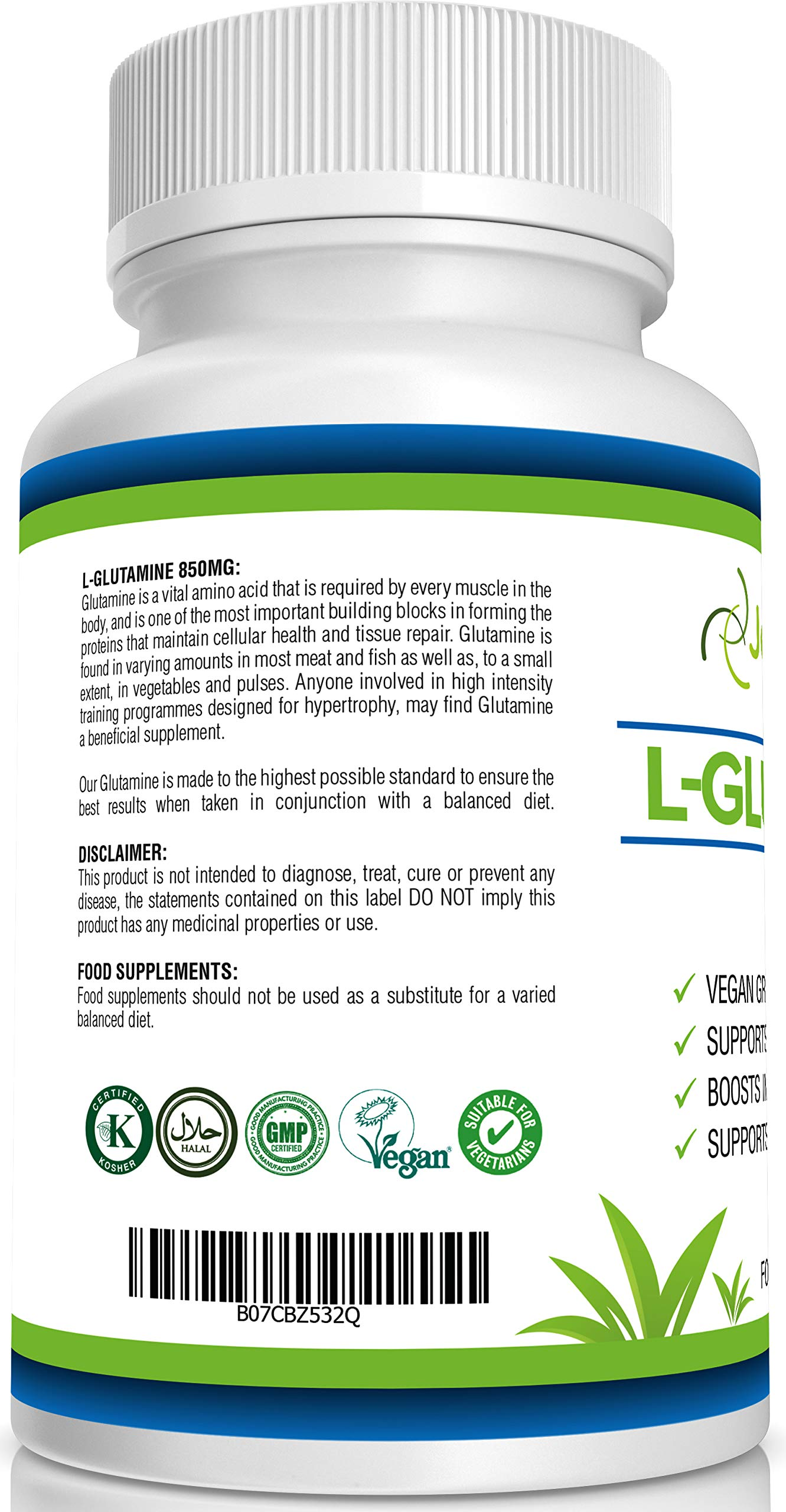 81VhlcdxzVL - JeaKen - L-GLUTAMINE Capsules - from Essential Amino Acid Powder - Amino Acids Supplements to Boost Muscle Recovery…