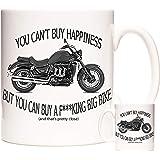 Motorbike Gift Mug. You Can't Buy Happiness Buy You Can Buy A Big Bike and That's Pretty Close. Biker Gift Mug