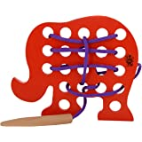 Skillofun - H-4C Wooden Sewing Toy Elephant, Multi Color