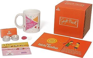 iberry's Rakhi with Rakshabandhan Card, Roli Chawal and Ceramic Coffee Mug 350ml for Brother (White) - Set of 2
