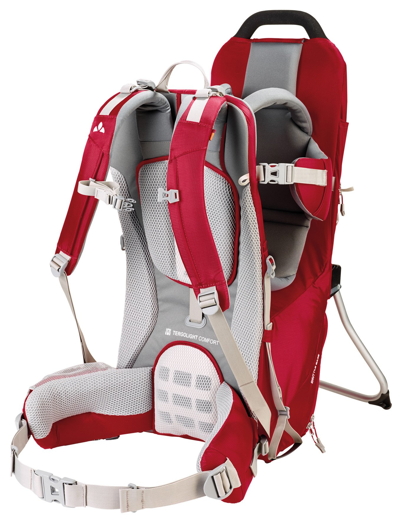 Vaude Shuttle Base Child Carrier Vaude Individually adjustable supportive back Padded hip belt with pocket. The Shuttle Base can safely carry children up to 105 cm or 18 kg Adjustable seat height. Maximum age: 3 years 2