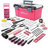 Apollo Boîte d'Outils Rose pour Madame, Boîte Portable 170 pièces d'Outils Durable Incluant Tournevis,Marteaux,Pinces,Ciseaux